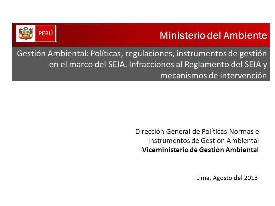 Ministerio del Ambiente Gestión Ambiental: Políticas, regulaciones, instrumentos de gestión en el marco del SEIA. Infracciones al Reglamento del SEIA