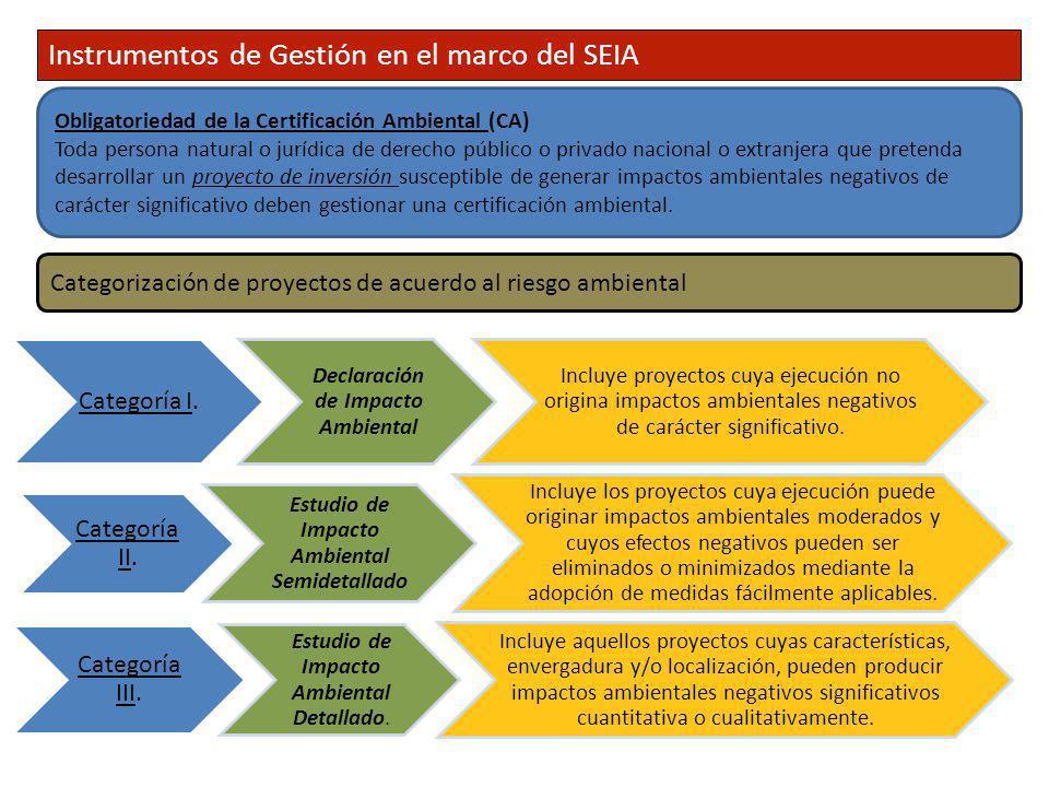 Categoría I. Declaración de Impacto Ambiental Incluye proyectos cuya ejecución no origina impactos ambientales negativos de carácter significativo. Ca
