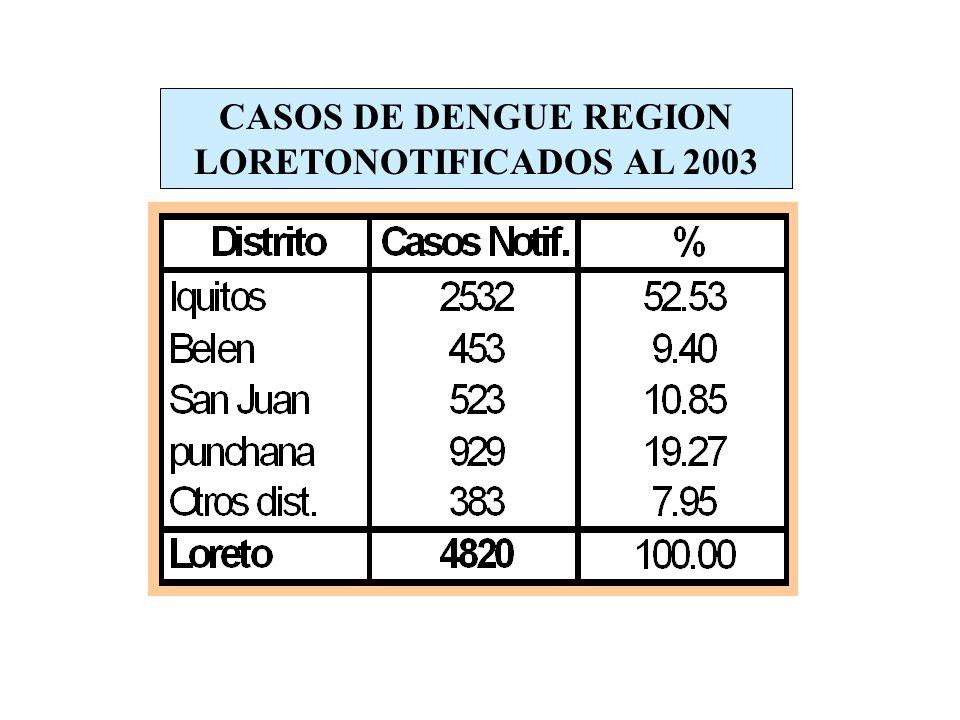 CASOS DE DENGUE REGION LORETONOTIFICADOS AL 2003