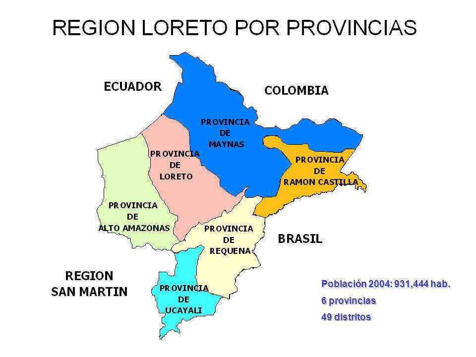 Población 2004: 931,444 hab. 6 provincias 49 distritos