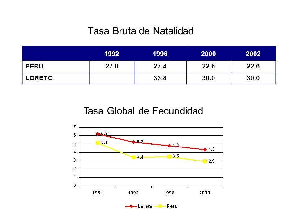 Tasa Bruta de Natalidad 1992199620002002 PERU27.827.422.6 LORETO33.830.0 Tasa Global de Fecundidad