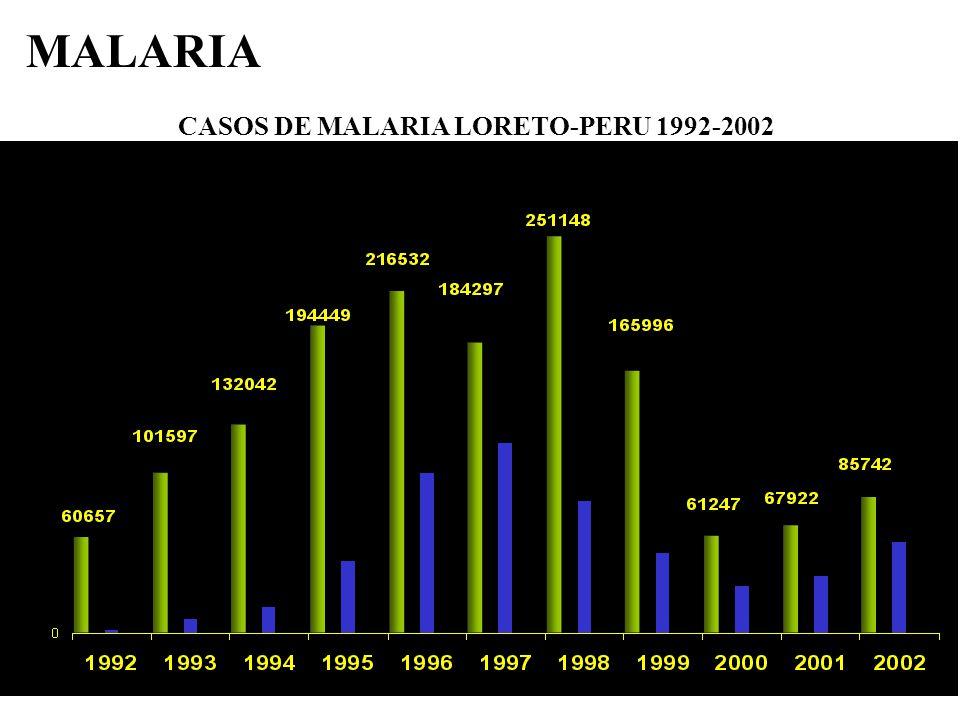 CASOS DE MALARIA LORETO-PERU 1992-2002 MALARIA