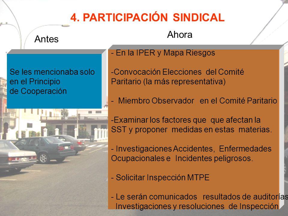 4. PARTICIPACIÓN SINDICAL Antes Ahora Se les mencionaba solo en el Principio de Cooperación - En la IPER y Mapa Riesgos -Convocación Elecciones del Co