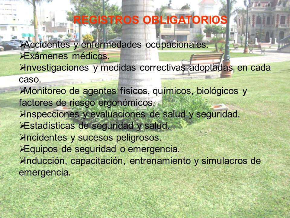 Accidentes y enfermedades ocupacionales.Exámenes médicos.