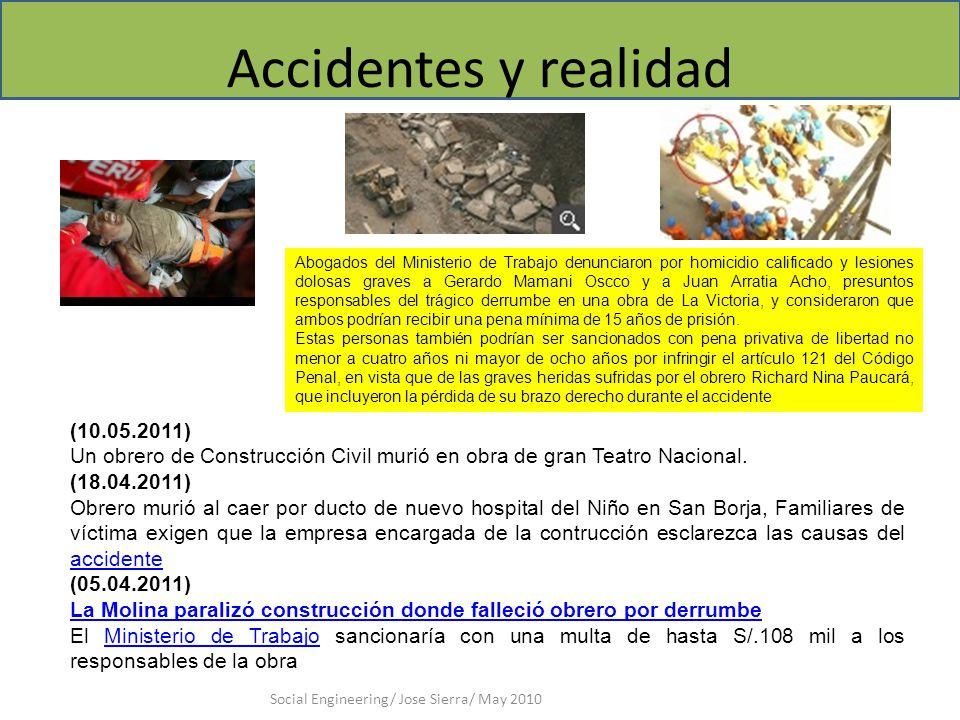 Accidentes y realidad Social Engineering/ Jose Sierra/ May 2010 (10.05.2011) Un obrero de Construcción Civil murió en obra de gran Teatro Nacional.