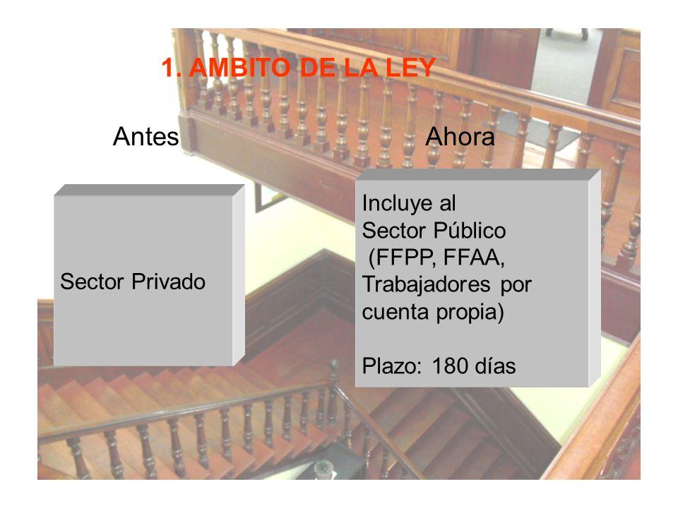 1. AMBITO DE LA LEY AntesAhora Sector Privado Incluye al Sector Público (FFPP, FFAA, Trabajadores por cuenta propia) Plazo: 180 días