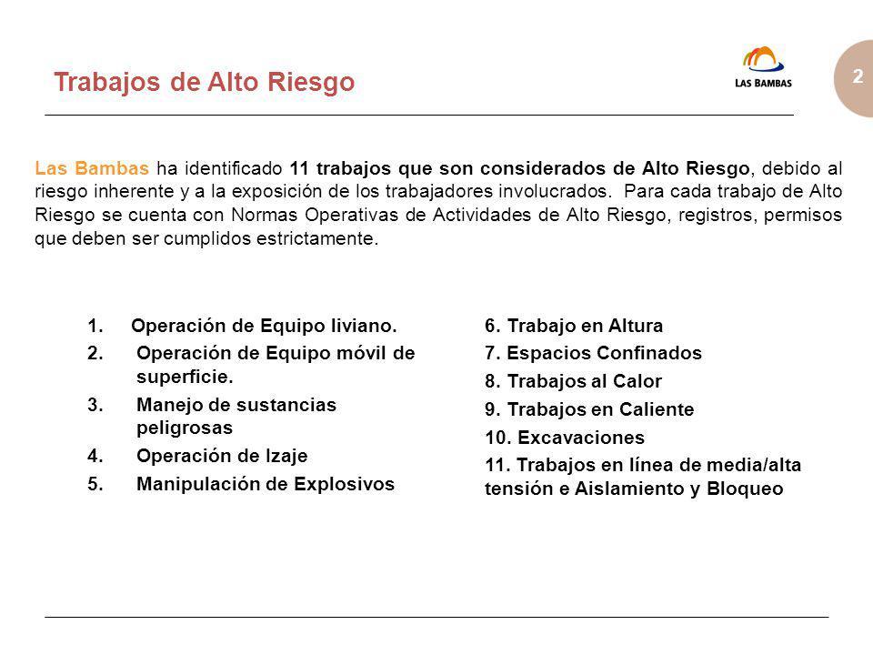 2 Trabajos de Alto Riesgo Las Bambas ha identificado 11 trabajos que son considerados de Alto Riesgo, debido al riesgo inherente y a la exposición de