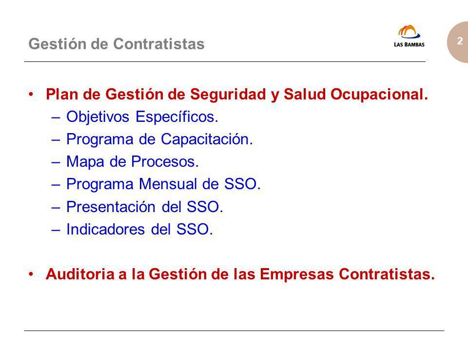 2 Gestión de Contratistas Plan de Gestión de Seguridad y Salud Ocupacional. –Objetivos Específicos. –Programa de Capacitación. –Mapa de Procesos. –Pro
