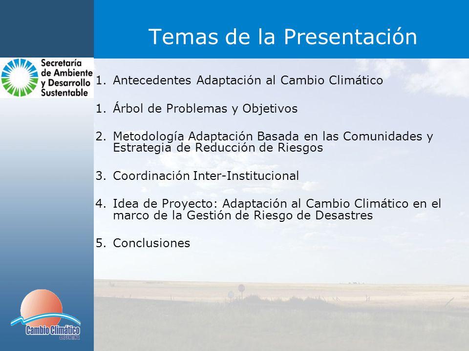 EJES DE TRABAJO 1)Prevención (Gestión del Riesgo) 2)Respuesta (Plan de Contingencia, SAT) 3)Salud (Observatorio Regional de Cambio Climático para ETV) 4)Producción (Modos de Subsistencia) 5)Educación y difusión (Transversal a los demás ejes)