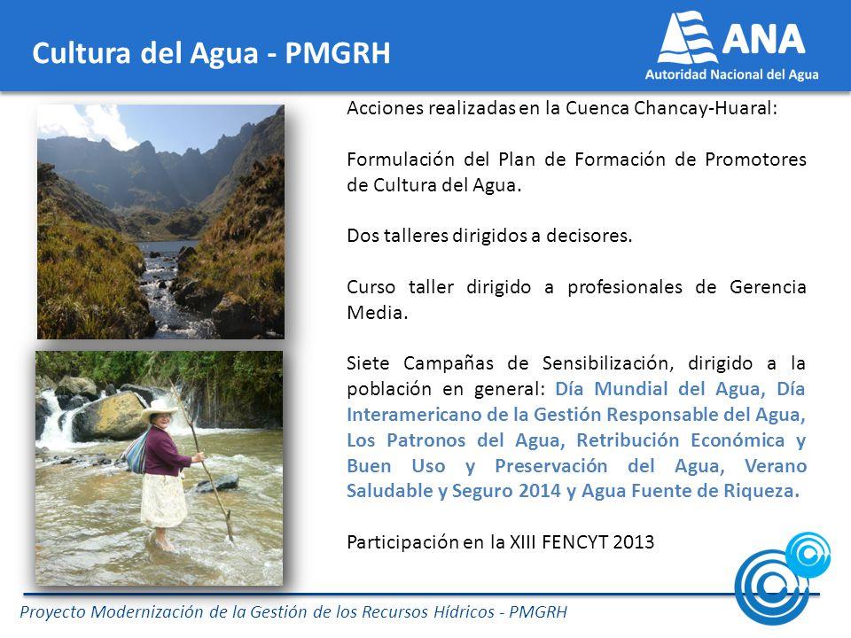 Proyecto Modernización de la Gestión de los Recursos Hídricos - PMGRH Cultura del Agua - PMGRH Acciones realizadas en la Cuenca Chancay-Huaral: Formulación del Plan de Formación de Promotores de Cultura del Agua.