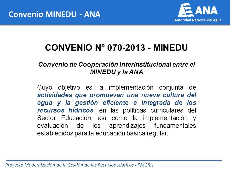 Proyecto Modernización de la Gestión de los Recursos Hídricos - PMGRH Compromisos asumidos en el Convenio MINEDU –ANA COMPROMISOS CONJUNTOS (entre otros): Promover acciones de capacitación de docentes y especialistas, en coordinación con los Gobiernos Regionales.