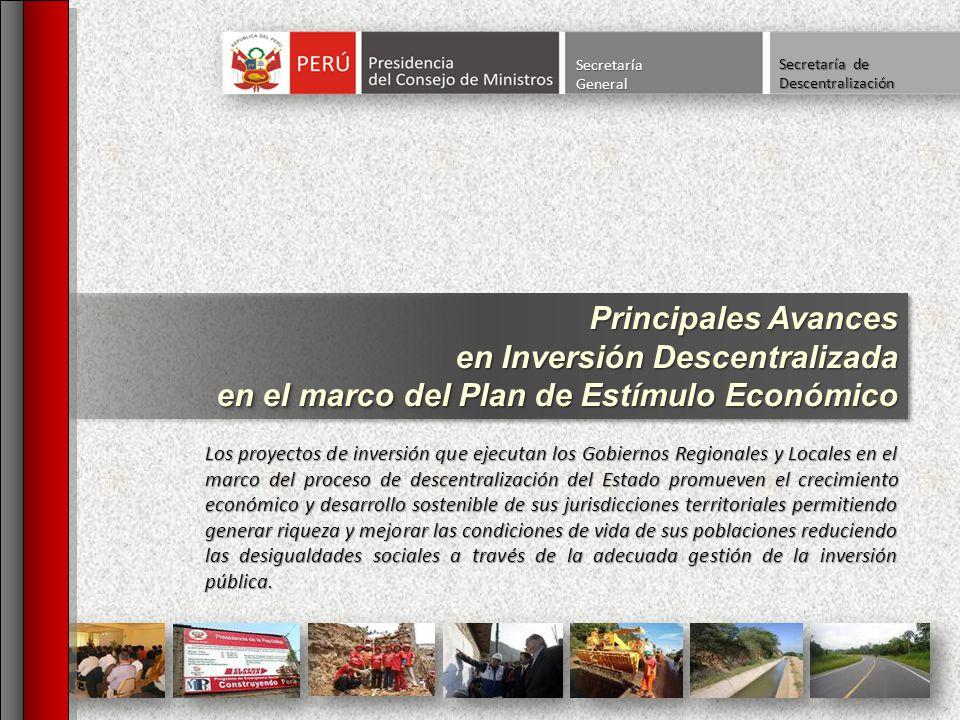 SecretaríaGeneral Principales Avances en Inversión Descentralizada en el marco del Plan de Estímulo Económico Principales Avances en Inversión Descent