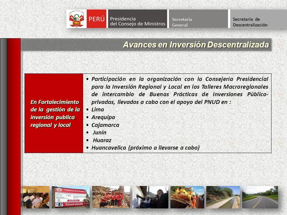 Avances en Inversión Descentralizada SecretaríaGeneral Secretaría de Descentralización En Fortalecimiento de la gestión de la inversión publica region