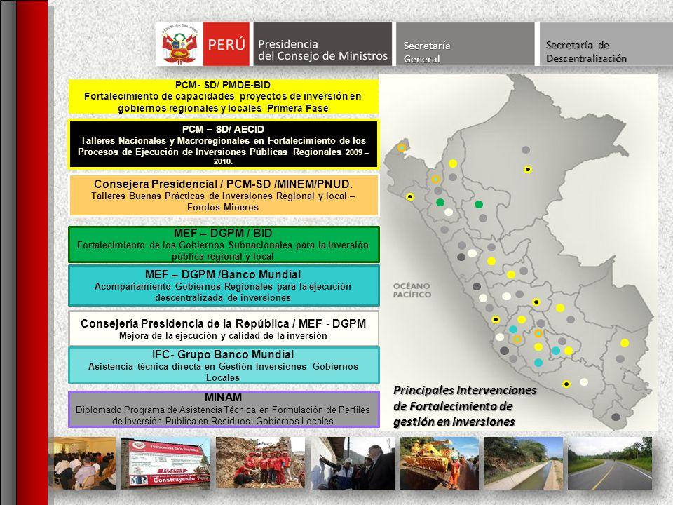 SecretaríaGeneral Secretaría de Descentralización Consejería Presidencia de la República / MEF - DGPM Mejora de la ejecución y calidad de la inversión