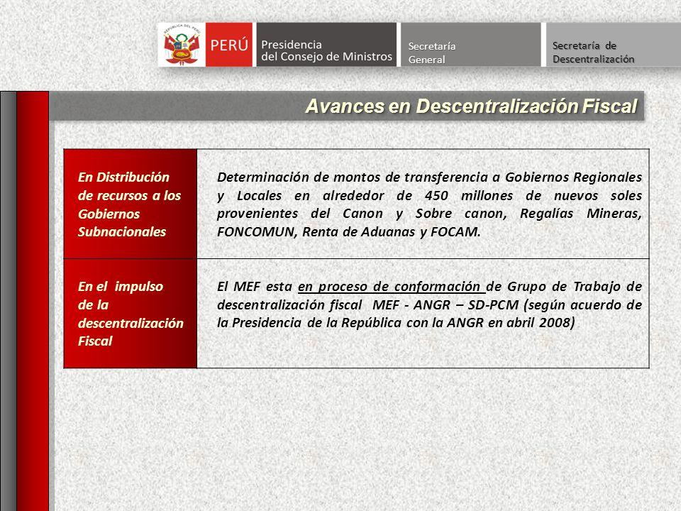 Avances en Descentralización Fiscal SecretaríaGeneral Secretaría de Descentralización En Distribución de recursos a los Gobiernos Subnacionales Determ