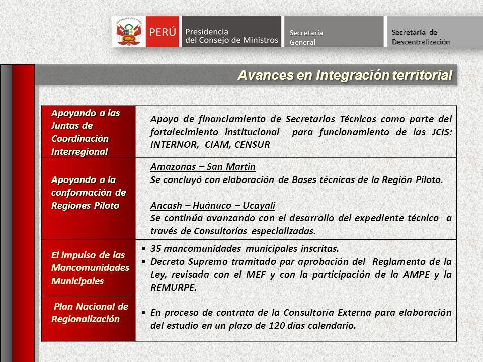 Apoyando a las Juntas de Coordinación Interregional INTERNOR, CIAM, CENSUR Apoyo de financiamiento de Secretarios Técnicos como parte del fortalecimie