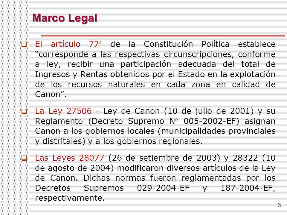 3 Marco Legal El artículo 77° de la Constitución Política establece corresponde a las respectivas circunscripciones, conforme a ley, recibir una parti