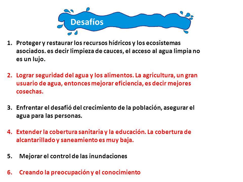 Desafíos 1.Proteger y restaurar los recursos hídricos y los ecosistemas asociados.