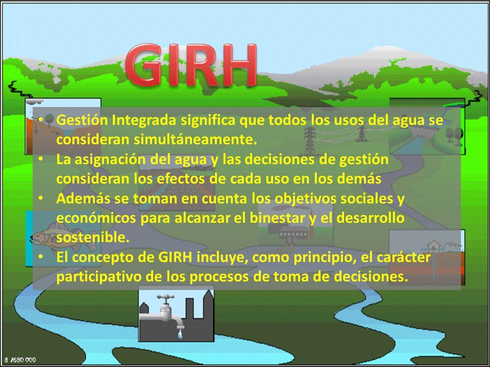Gestión Integrada significa que todos los usos del agua se consideran simultáneamente.