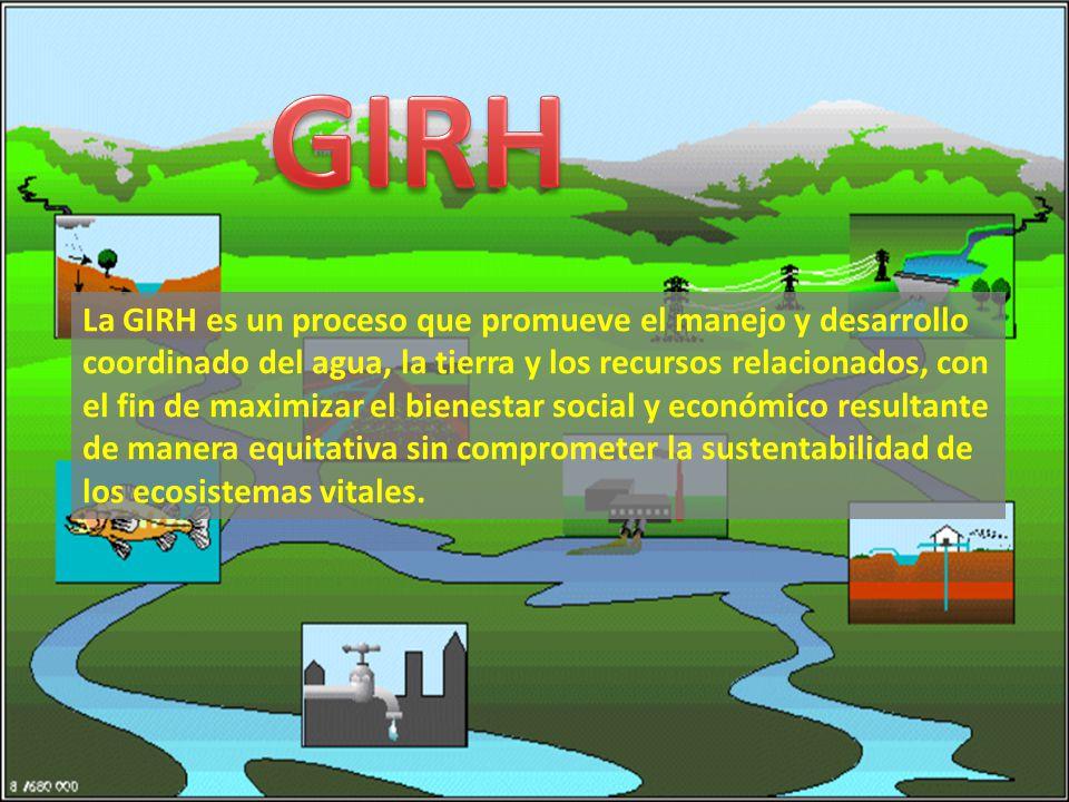 La GIRH es un proceso que promueve el manejo y desarrollo coordinado del agua, la tierra y los recursos relacionados, con el fin de maximizar el bienestar social y económico resultante de manera equitativa sin comprometer la sustentabilidad de los ecosistemas vitales.