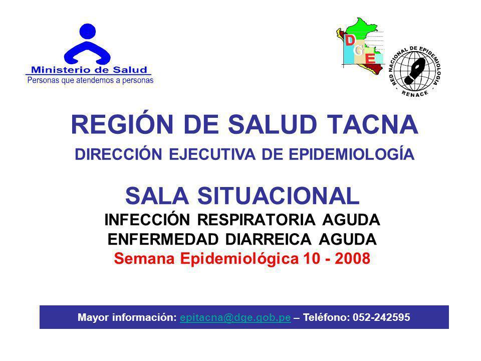REGIÓN DE SALUD TACNA SALA SITUACIONAL INFECCIÓN RESPIRATORIA AGUDA ENFERMEDAD DIARREICA AGUDA Semana Epidemiológica 10 - 2008 DIRECCIÓN EJECUTIVA DE EPIDEMIOLOGÍA Mayor información: epitacna@dge.gob.pe – Teléfono: 052-242595epitacna@dge.gob.pe