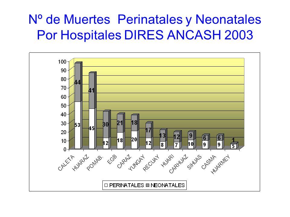 Nº de Muertes Perinatales y Neonatales Por Hospitales DIRES ANCASH 2003