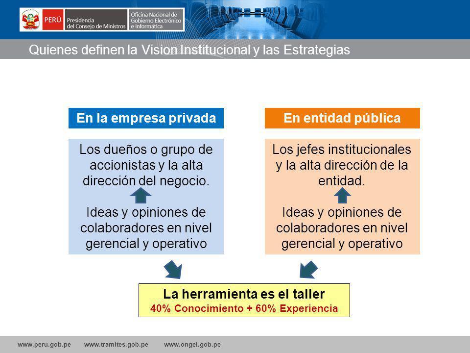 www.peru.gob.pe www.tramites.gob.pe www.ongei.gob.pe Los dueños o grupo de accionistas y la alta dirección del negocio.