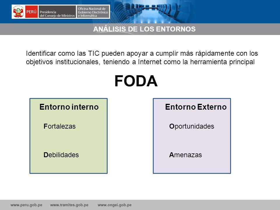 www.peru.gob.pe www.tramites.gob.pe www.ongei.gob.pe ANÁLISIS DE LOS ENTORNOS Identificar como las TIC pueden apoyar a cumplir más rápidamente con los objetivos institucionales, teniendo a Internet como la herramienta principal FODA Fortalezas Debilidades Entorno interno Oportunidades Amenazas Entorno Externo