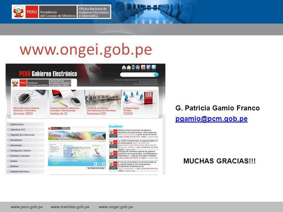www.peru.gob.pe www.tramites.gob.pe www.ongei.gob.pe www.ongei.gob.pe G.