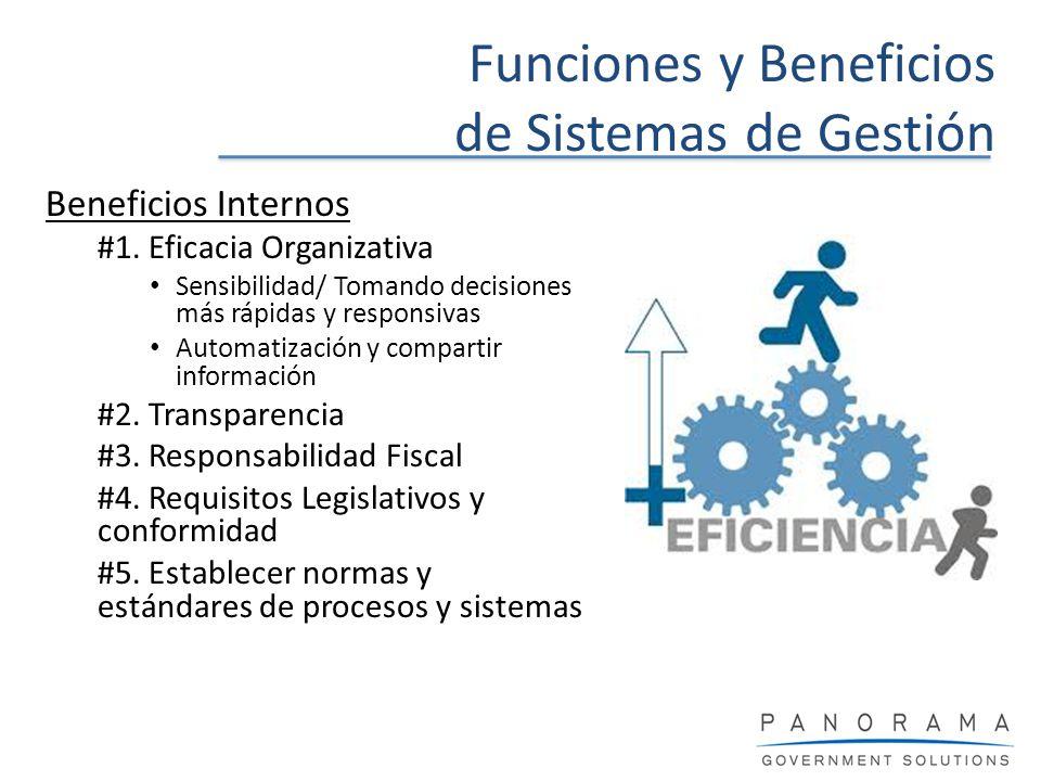 Funciones y Beneficios de Sistemas de Gestión Beneficios Internos #1. Eficacia Organizativa Sensibilidad/ Tomando decisiones más rápidas y responsivas