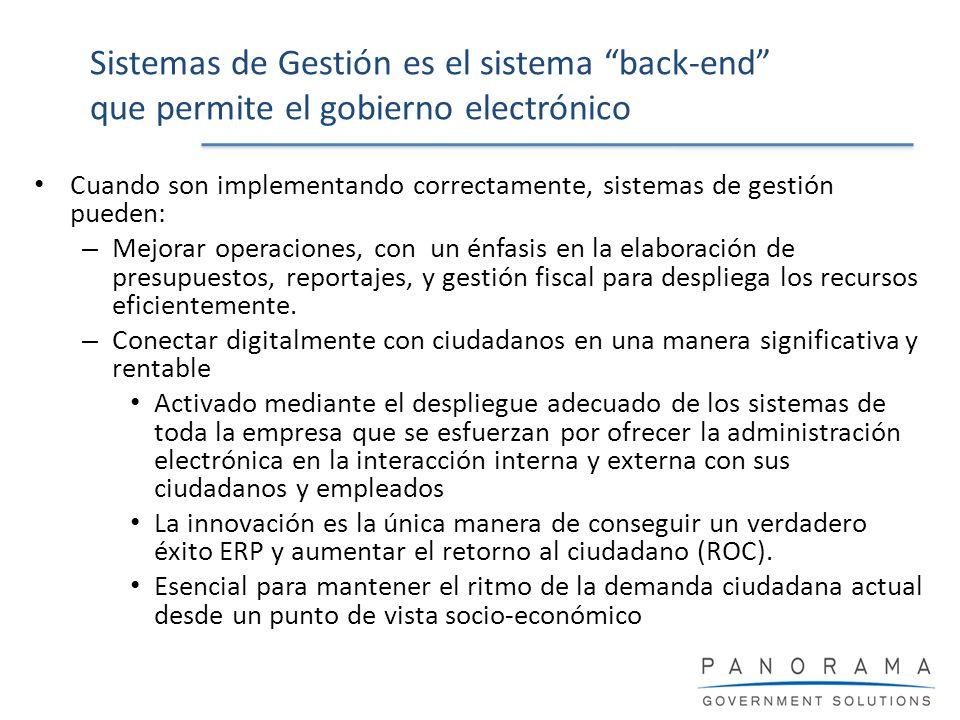 Sistemas de Gestión es el sistema back-end que permite el gobierno electrónico Cuando son implementando correctamente, sistemas de gestión pueden: – M