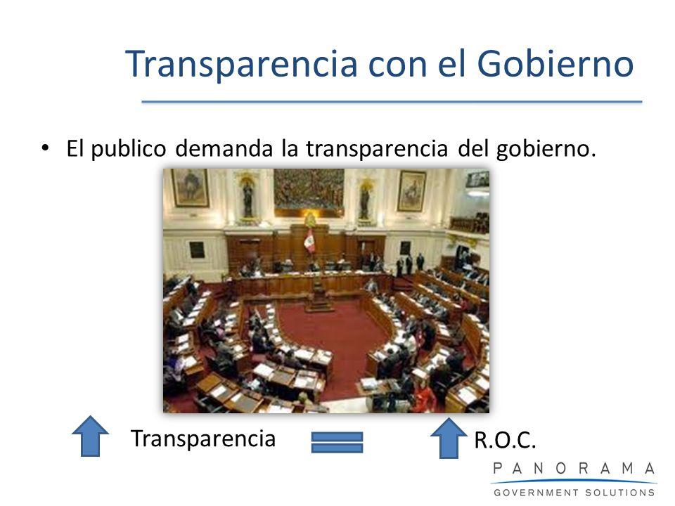 Transparencia con el Gobierno El publico demanda la transparencia del gobierno. Transparencia R.O.C.