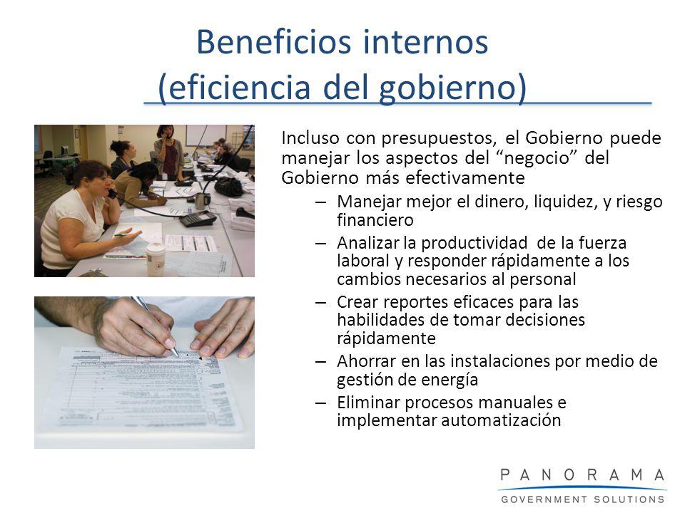 Beneficios internos (eficiencia del gobierno) Incluso con presupuestos, el Gobierno puede manejar los aspectos del negocio del Gobierno más efectivame