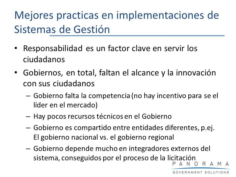 Mejores practicas en implementaciones de Sistemas de Gestión Responsabilidad es un factor clave en servir los ciudadanos Gobiernos, en total, faltan e