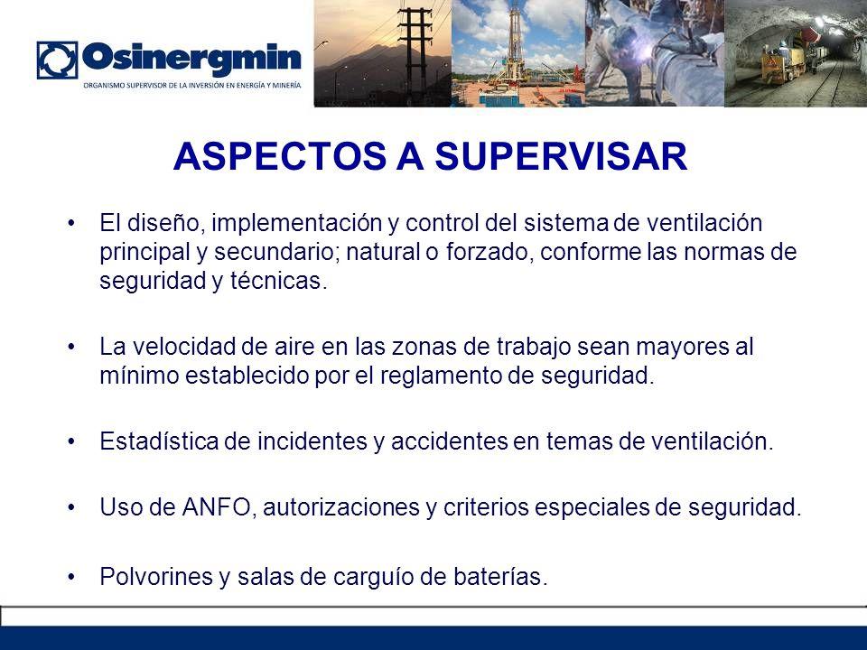 ASPECTOS A SUPERVISAR El diseño, implementación y control del sistema de ventilación principal y secundario; natural o forzado, conforme las normas de seguridad y técnicas.