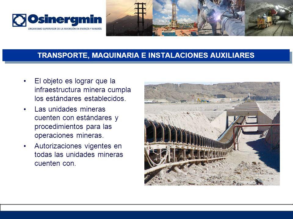 El objeto es lograr que la infraestructura minera cumpla los estándares establecidos.