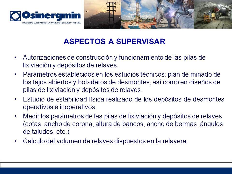 ASPECTOS A SUPERVISAR Autorizaciones de construcción y funcionamiento de las pilas de lixiviación y depósitos de relaves.