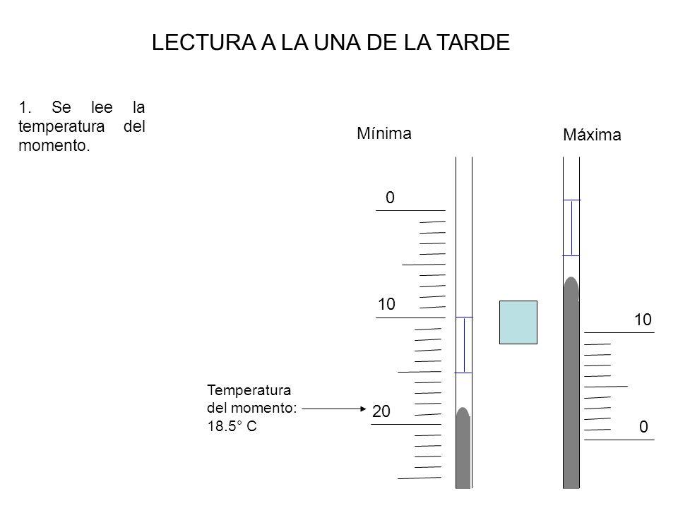 Máxima Mínima 0 10 0 LECTURA A LA UNA DE LA TARDE 1. Se lee la temperatura del momento. 20 Temperatura del momento: 18.5° C