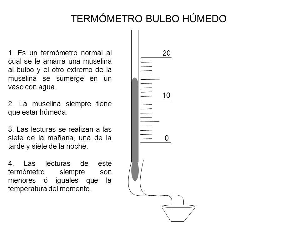 TERMÓMETRO BULBO HÚMEDO 0 10 20 1. Es un termómetro normal al cual se le amarra una muselina al bulbo y el otro extremo de la muselina se sumerge en u