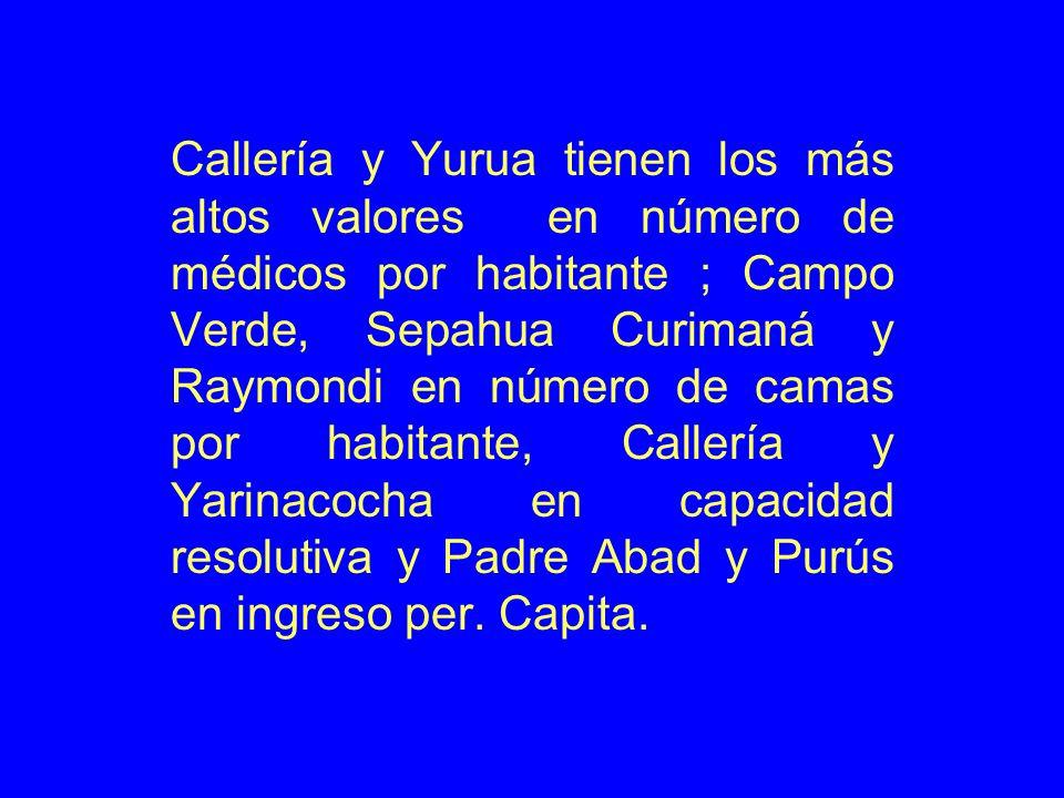Callería y Yurua tienen los más altos valores en número de médicos por habitante ; Campo Verde, Sepahua Curimaná y Raymondi en número de camas por habitante, Callería y Yarinacocha en capacidad resolutiva y Padre Abad y Purús en ingreso per.