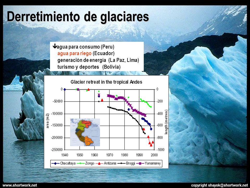 agua para consumo (Peru) agua para riego (Ecuador) generación de energía (La Paz, Lima) turismo y deportes (Bolivia) Derretimiento de glaciares