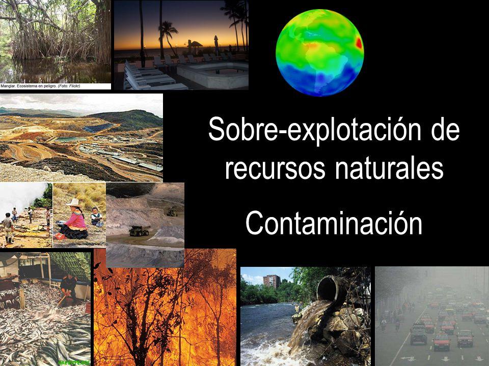 Sobre-explotación de recursos naturales Contaminación