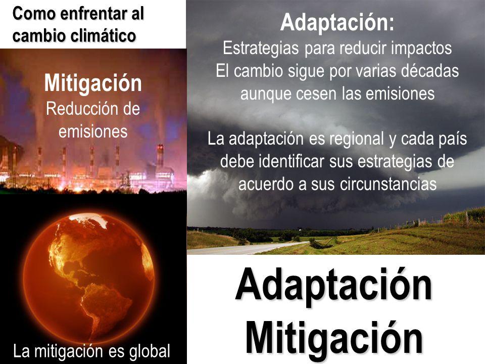 Mitigación Reducción de emisiones Adaptación: Estrategias para reducir impactos El cambio sigue por varias décadas aunque cesen las emisiones La adaptación es regional y cada país debe identificar sus estrategias de acuerdo a sus circunstancias Como enfrentar al cambio climático AdaptaciónMitigación La mitigación es global