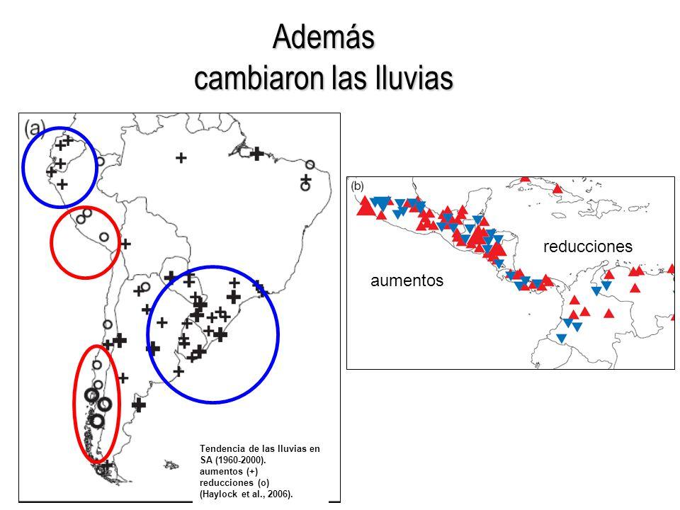 Además cambiaron las lluvias Tendencia de las lluvias en SA (1960-2000).