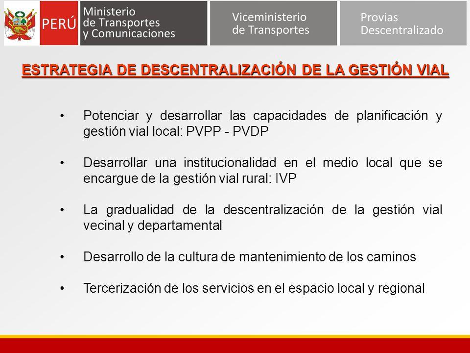 ESTRATEGIA DE DESCENTRALIZACIÓN DE LA GESTIÓN VIAL Potenciar y desarrollar las capacidades de planificación y gestión vial local: PVPP - PVDP Desarrol