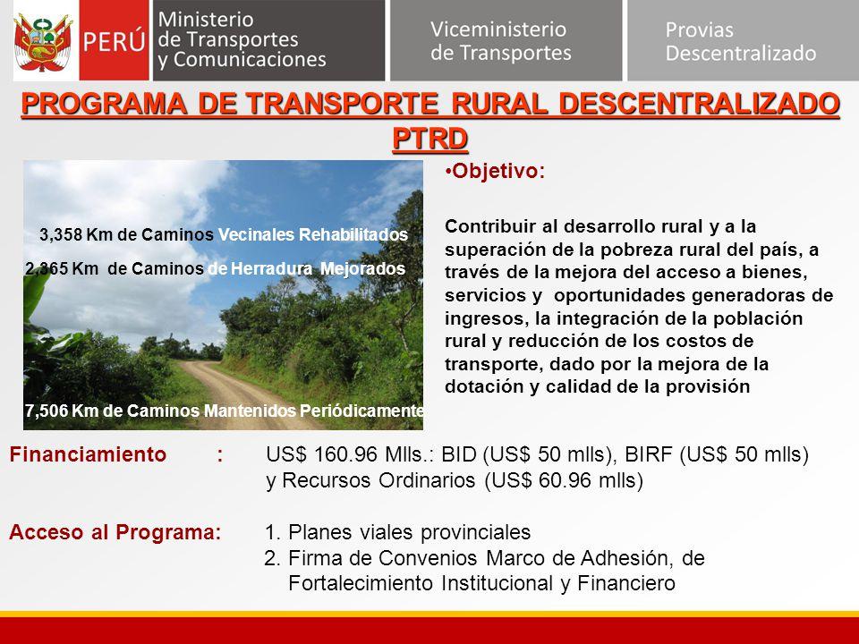 3,358 Km de Caminos Vecinales Rehabilitados 2,365 Km de Caminos de Herradura Mejorados Objetivo: Contribuir al desarrollo rural y a la superación de l