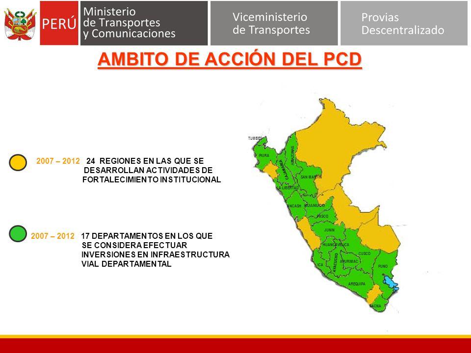 AMAZONAS SAN MARTIN HUANUCO LA LIBERTAD PASCO ICA CUSCO PUNO HUANCAVELICA AREQUIPA TACNA JUNIN APURIMAC AYACUCHO ANCASH CAJAMARCA PIURA TUMBES 2007 –