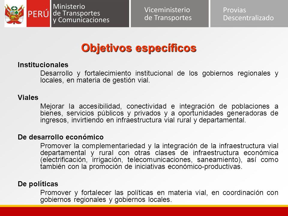 Objetivos específicos Institucionales Desarrollo y fortalecimiento institucional de los gobiernos regionales y locales, en materia de gestión vial. Vi