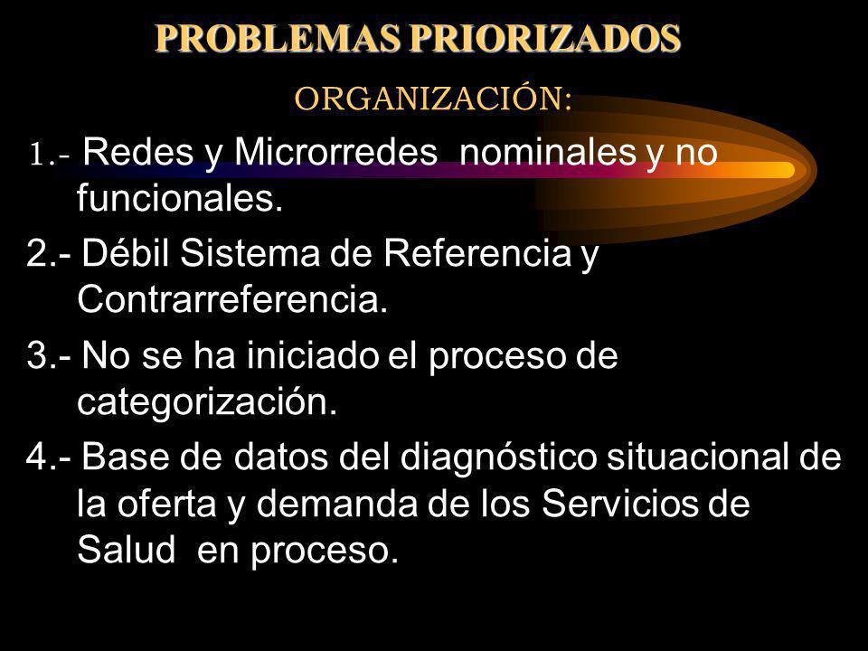 ORGANIZACIÓN: 1.- Redes y Microrredes nominales y no funcionales. 2.- Débil Sistema de Referencia y Contrarreferencia. 3.- No se ha iniciado el proces