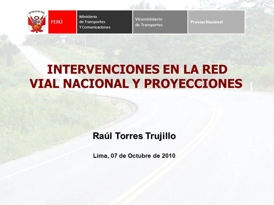 Red Vial Nacional Longitud total Proyectada: 26 974 Km. Longitud real existente: 24 500 Km.